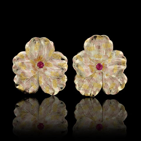 14K Tricolor Gold Ruby Pansy Earrings