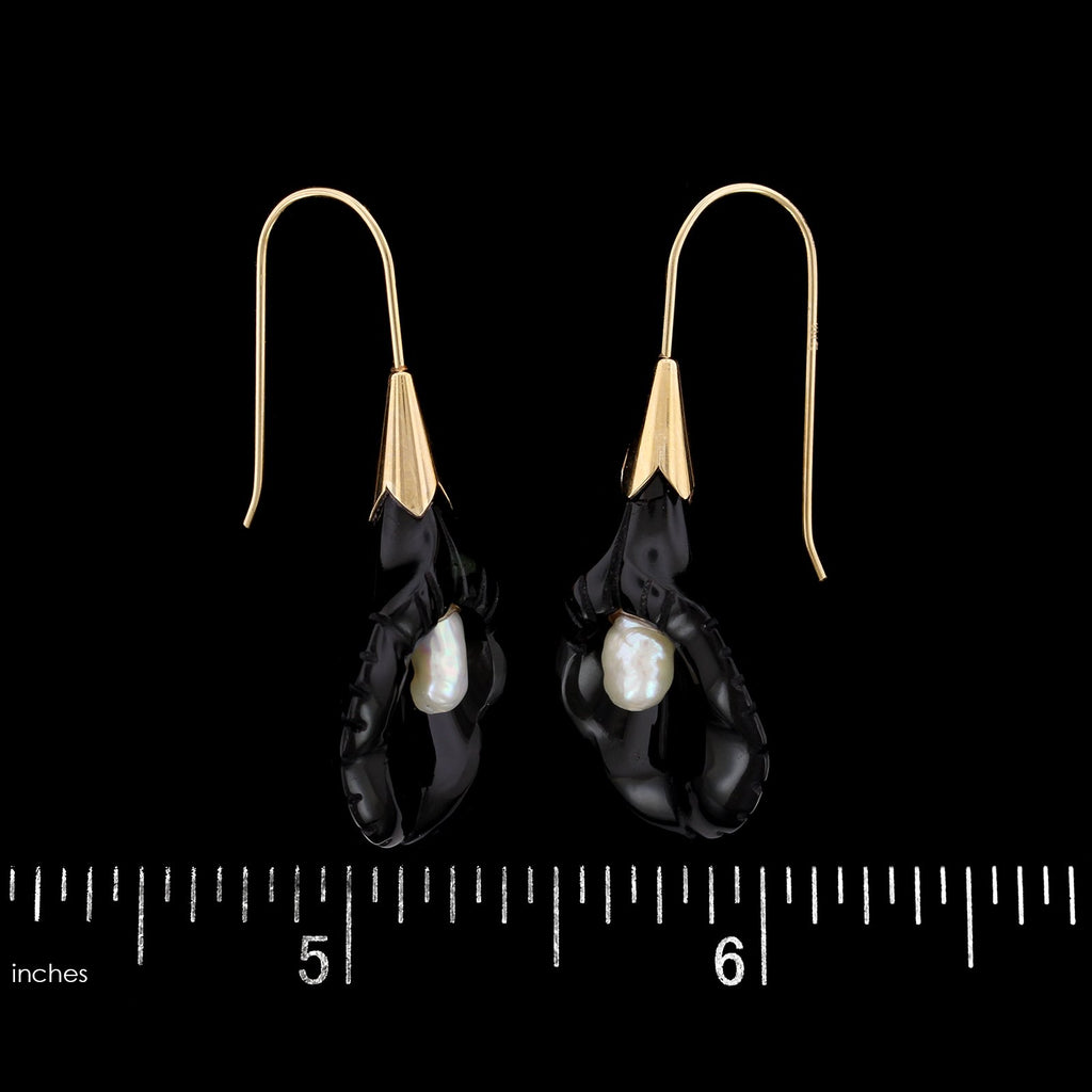 14K Yellow Gold Carved Onyx and Freshwater Pearl Calla Lily Earrings