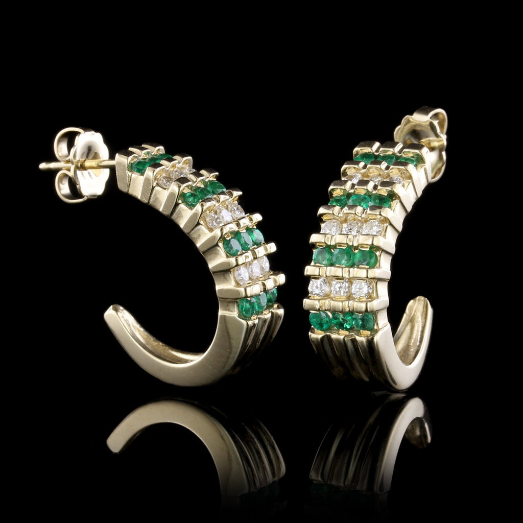 14K Yellow Gold Estate Emerald and Diamond Earrings