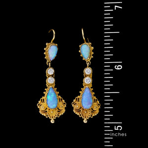 14K Yellow Gold Opal and Diamond Earrings
