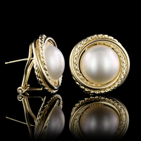 14K Yellow Gold Cultured Mabe Pearl Earrings