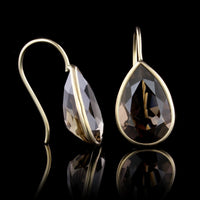 14K Yellow Gold Smoky Quartz Earrings
