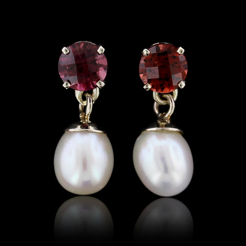 14K White Gold Garnet and Freshwater Pearl Earrings