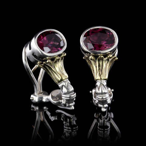 Lagos Sterling Silver and 18K Yellow Gold Garnet Earrings