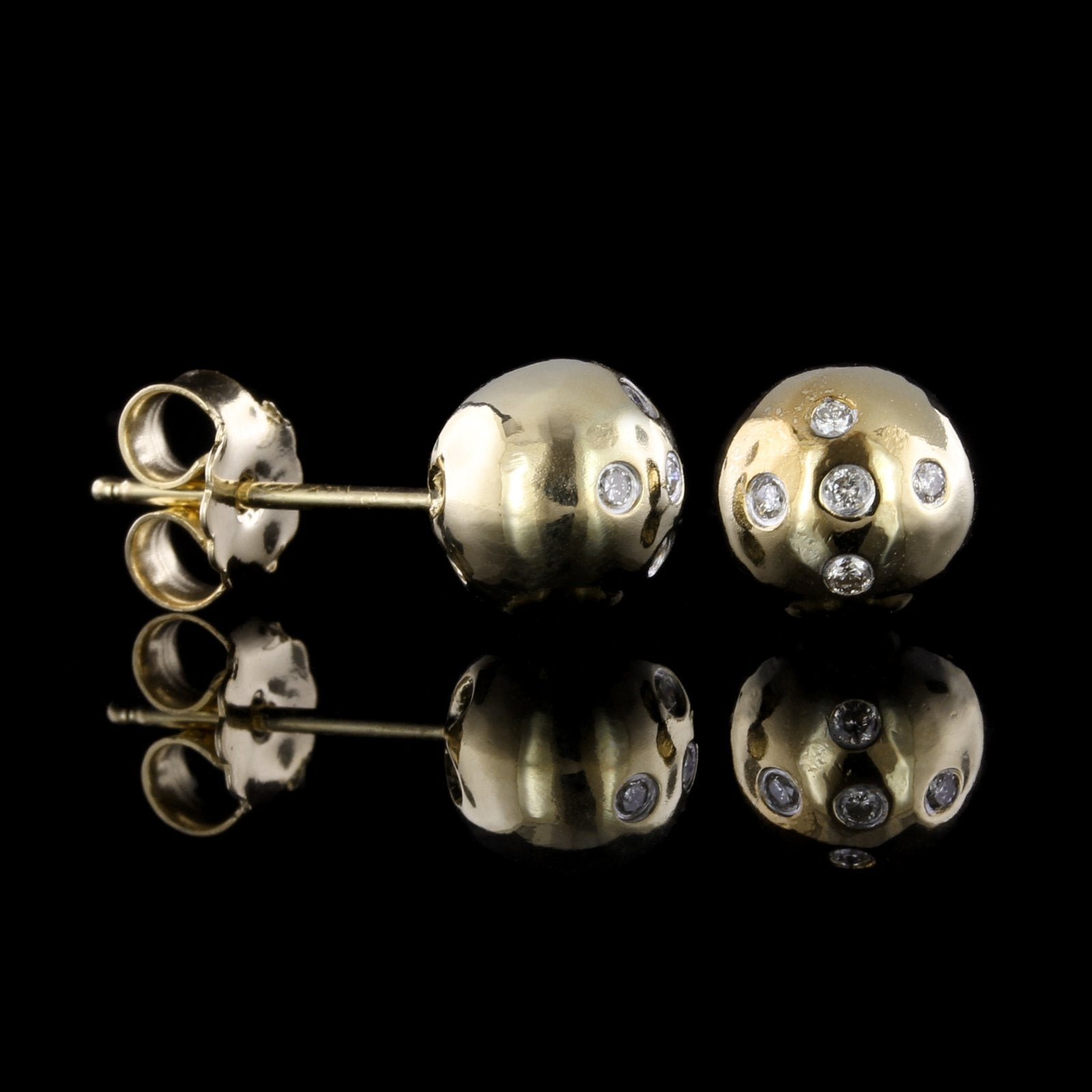14K Yellow Gold Diamond Ball Studs