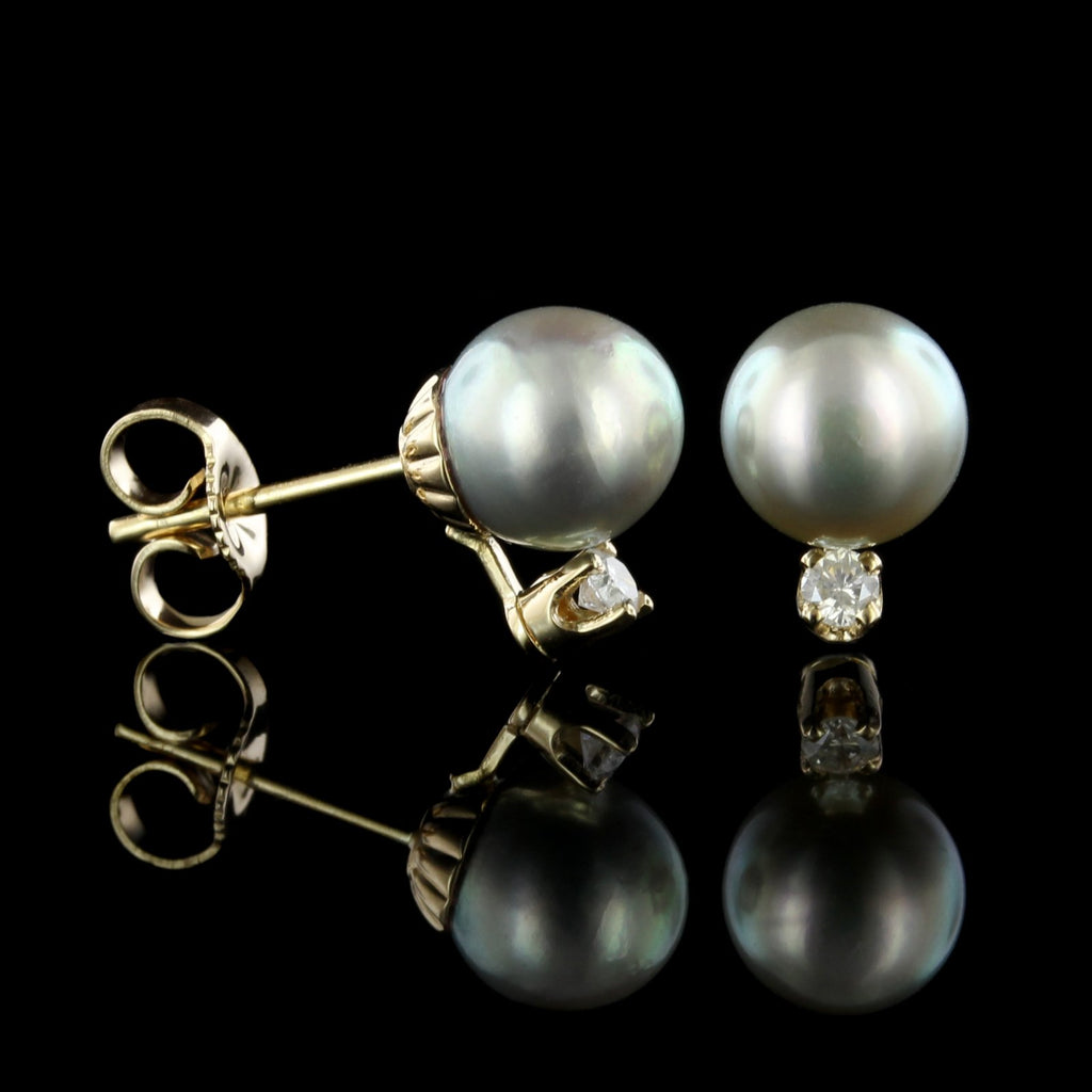 14K Yellow Gold Estate Grey Cultured Pearl and Diamond Earrings