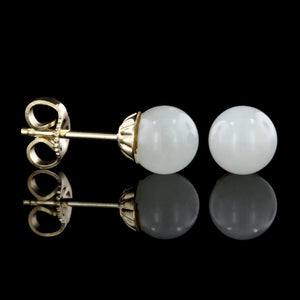 14K Yellow Gold Jadeite Bead Studs