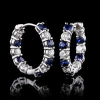 14K White Gold Sapphire and Diamond Inside Out Hoops