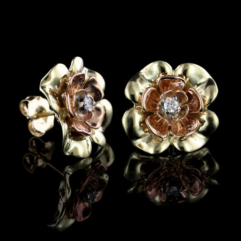 14K Bicolor Gold Diamond Flower Earrings