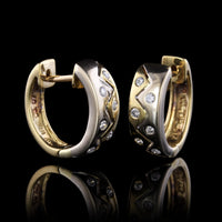 18K Two-tone Gold Diamond Hoops