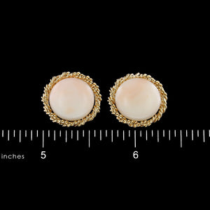 14K Yellow Gold Estate Coral Button Earrings
