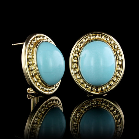 18K Yellow Gold Turquoise Earrings