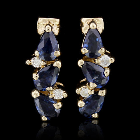 14K Yellow Gold Sapphire and Diamond Earrings