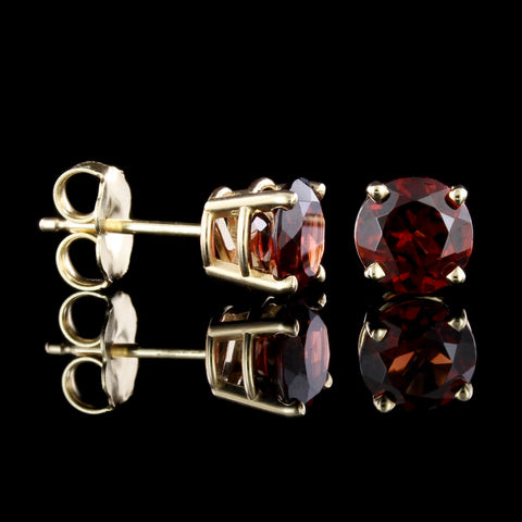 14K Yellow Gold Garnet Studs