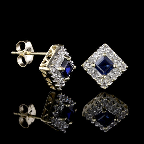14K Two-Tone Sapphire and Diamond Earrings