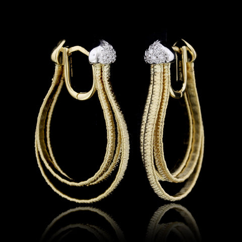 Movado 18K Yellow Gold Diamond Earrings