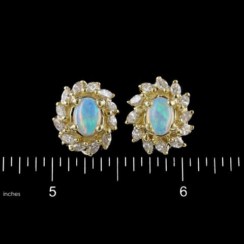 14K Yellow Gold Estate Opal and Diamond Earrings