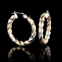 14K Two-Tone Gold Estate Twisted Hoop Earrings