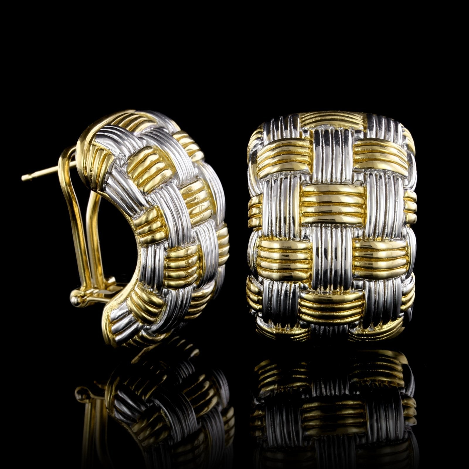 18K Two-Tone Gold Estate Basket Weave Earrings