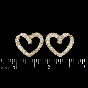18K Yellow Gold Estate Diamond Heart Earrings