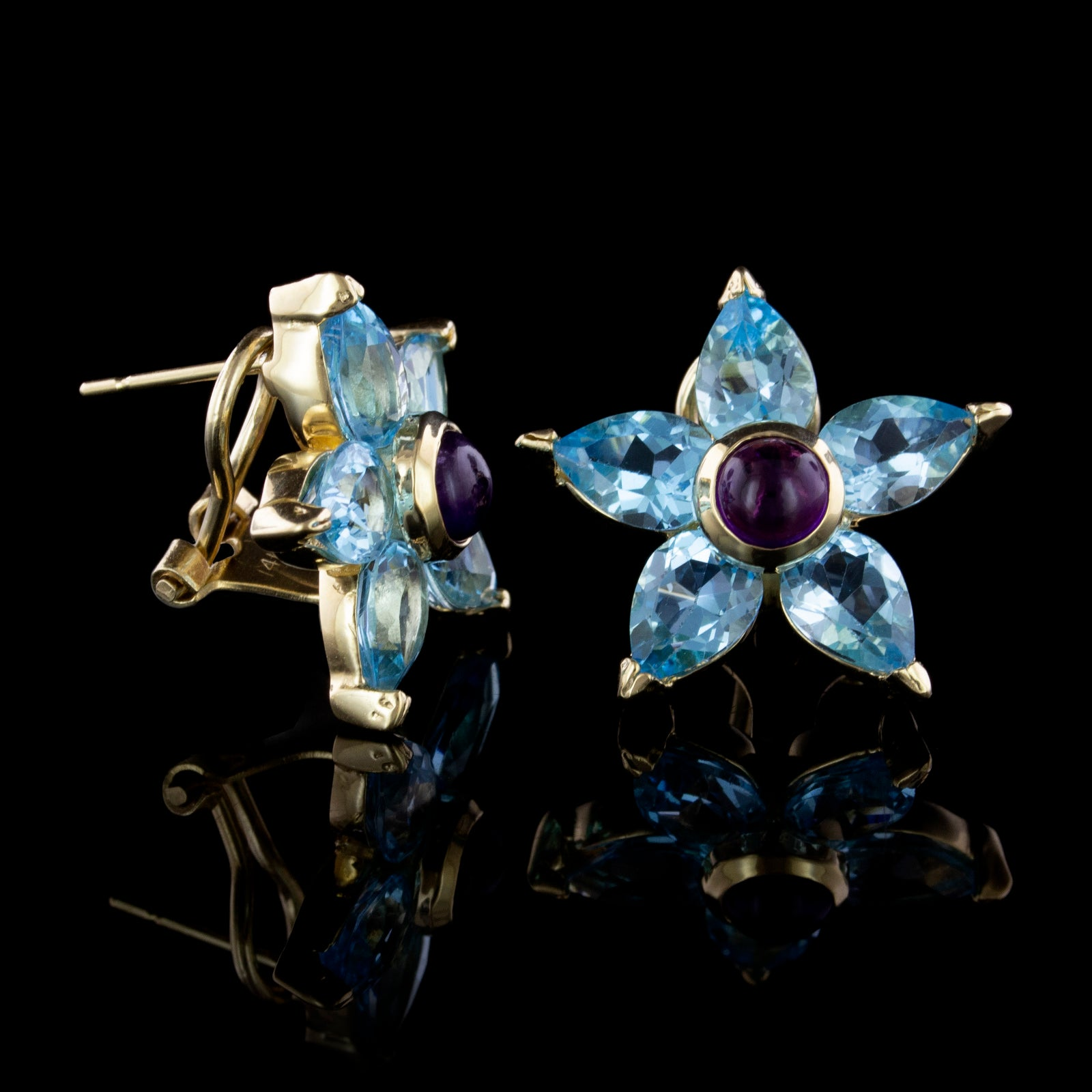 14K Yellow Gold Estate Blue Topaz and Amethyst Flower Earrings