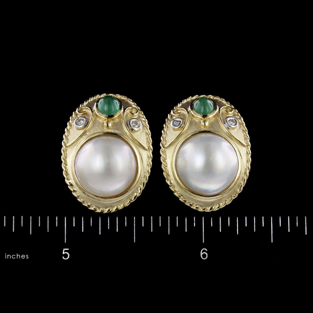 14K Yellow Gold Estate Cultured Mabe Pearl, Emerald and Diamond Earrings