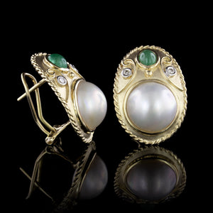 14K Yellow Gold Cultured Mabe Pearl, Emerald and Diamond Earrings