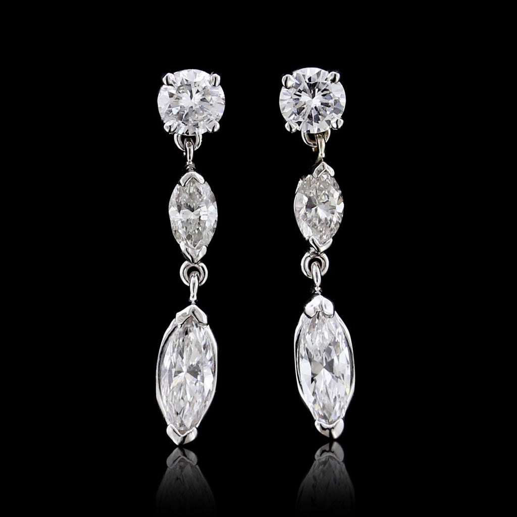 14K White Gold Diamond Earrings