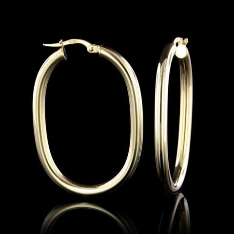 18K Yellow Gold Oval Hoop Earrings