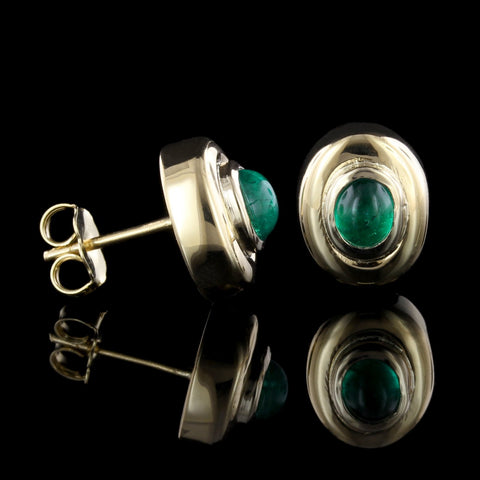 18K Yellow Gold Emerald Earrings