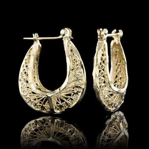 14K Yellow Gold Filigree Hoop Earrings