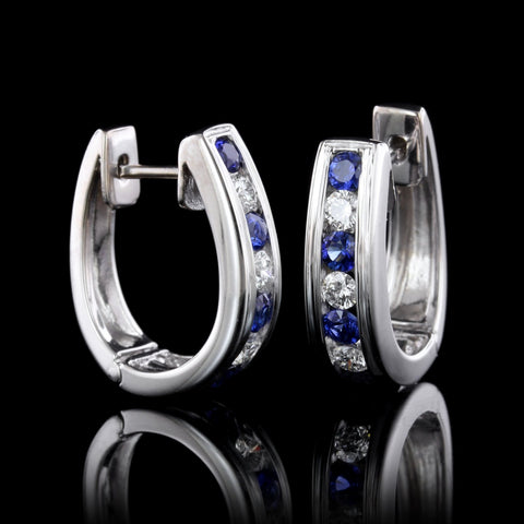 18K White Gold Estate Sapphire and Diamond Hoops