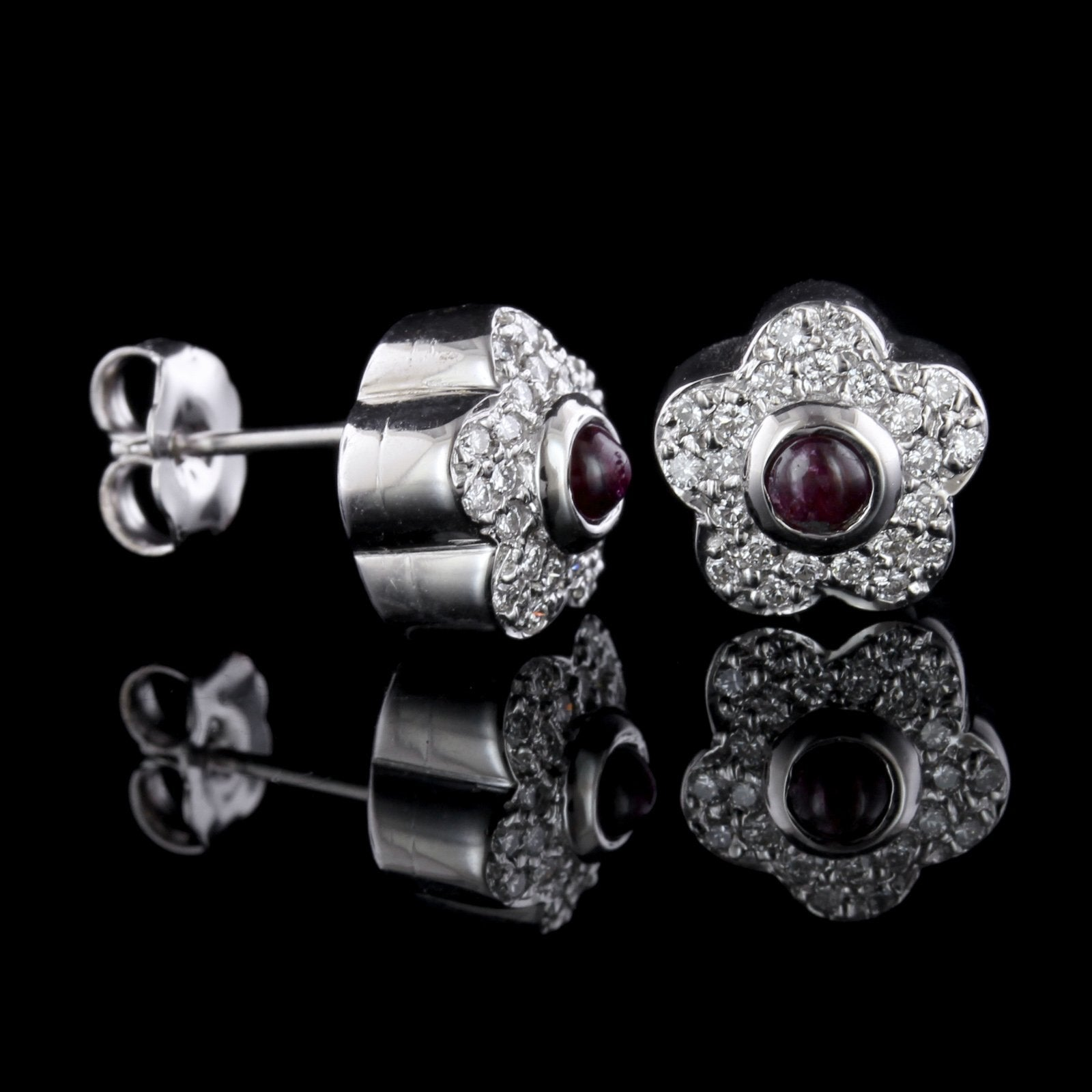 14K White Gold Estate Ruby and Diamond Earrings