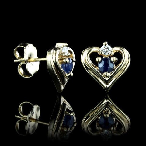14K Yellow Gold Sapphire and Diamond Heart Earrings