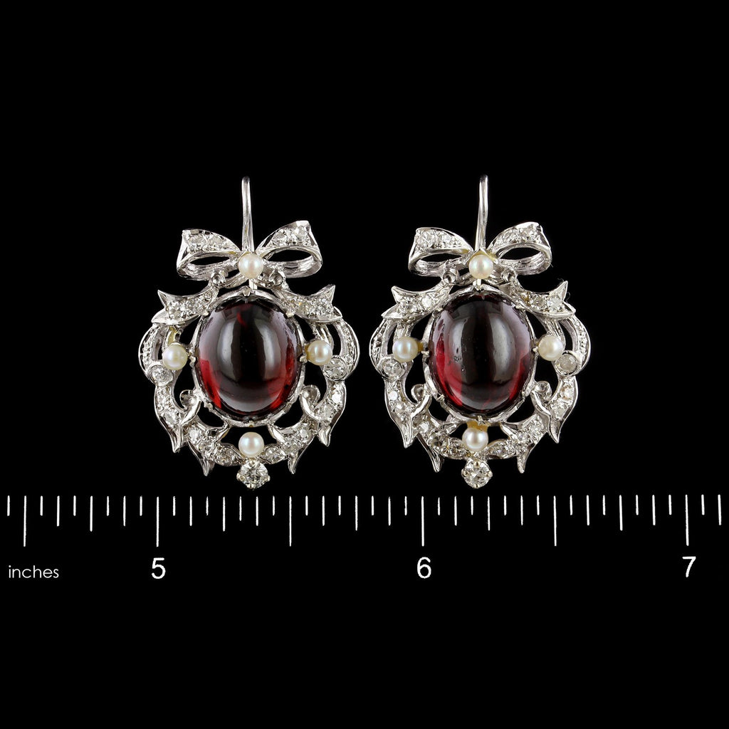 14K White Gold Estate Garnet, Cultured Pearl and Diamond Earrings
