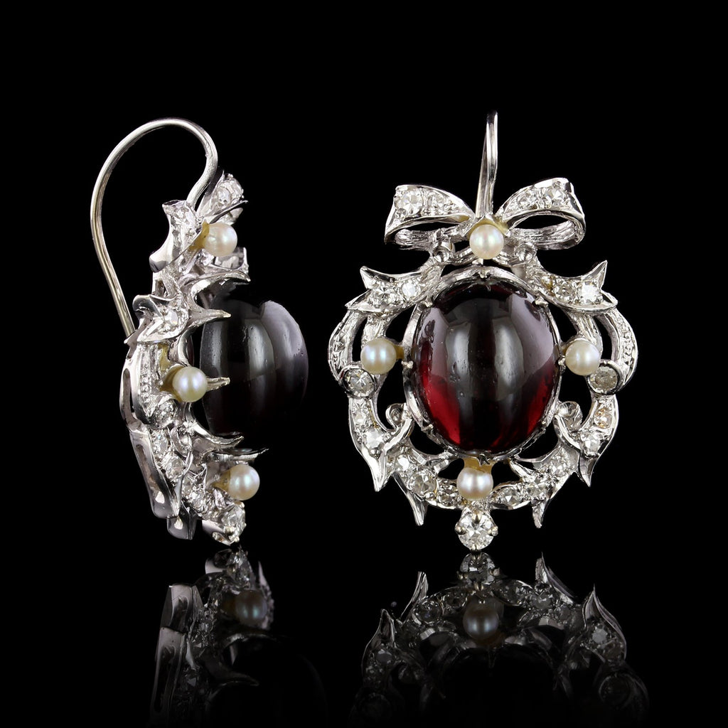 14K White Gold Garnet, Cultured Pearl and Diamond Earrings