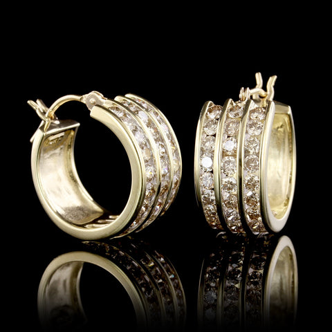 14K Yellow Gold Estate Diamond Hoops