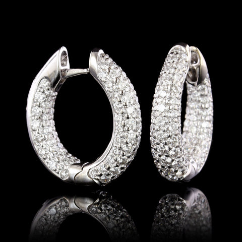 18K White Gold Estate Diamond Inside Out Hoops