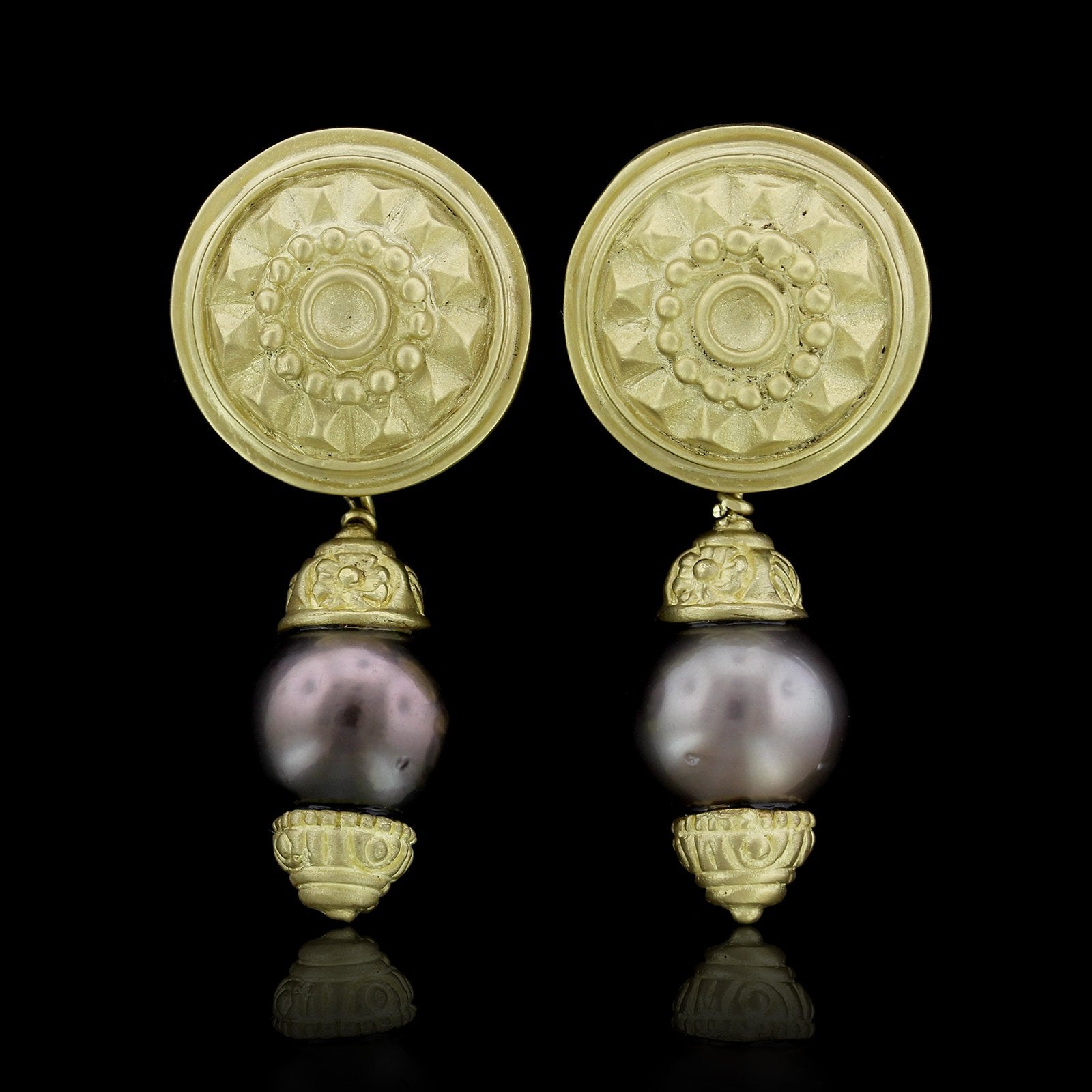 18K Yellow Gold Cultured Tahitian Pearl Earrings