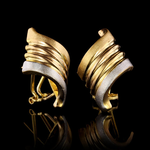 22K Yellow Gold Estate Swirl Earrings