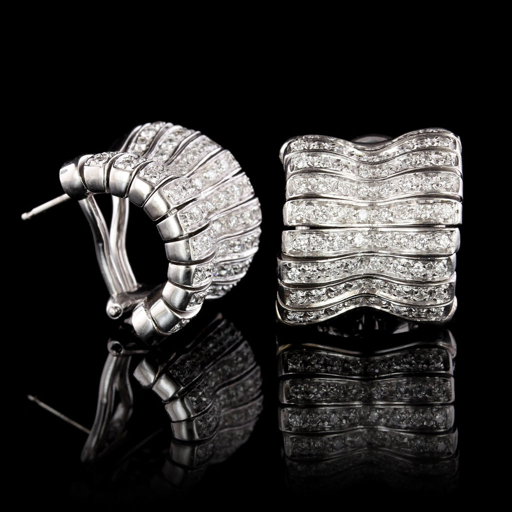 Orlando Orlandini 18K White Gold Diamond Earrings