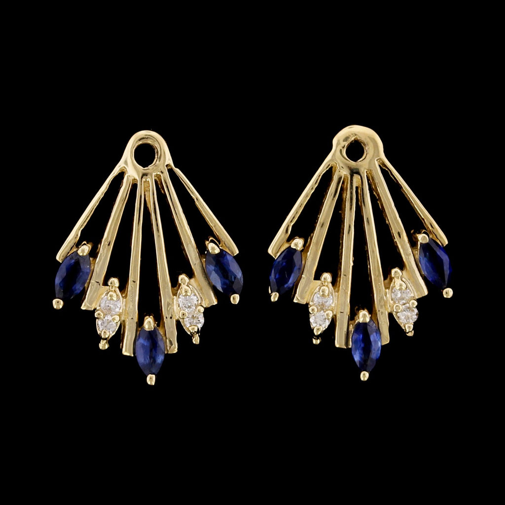 14K Yellow Gold Estate Sapphire and Diamond Earring Jackets