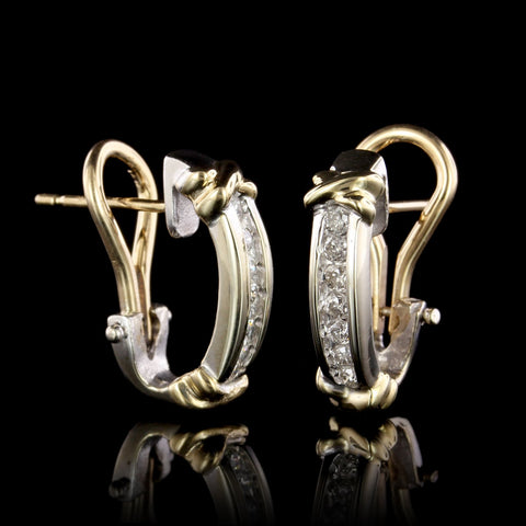 14K Two-tone Gold Estate Diamond Earrings
