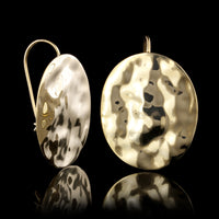 14K Yellow Gold Estate Oval Hammered Earrings