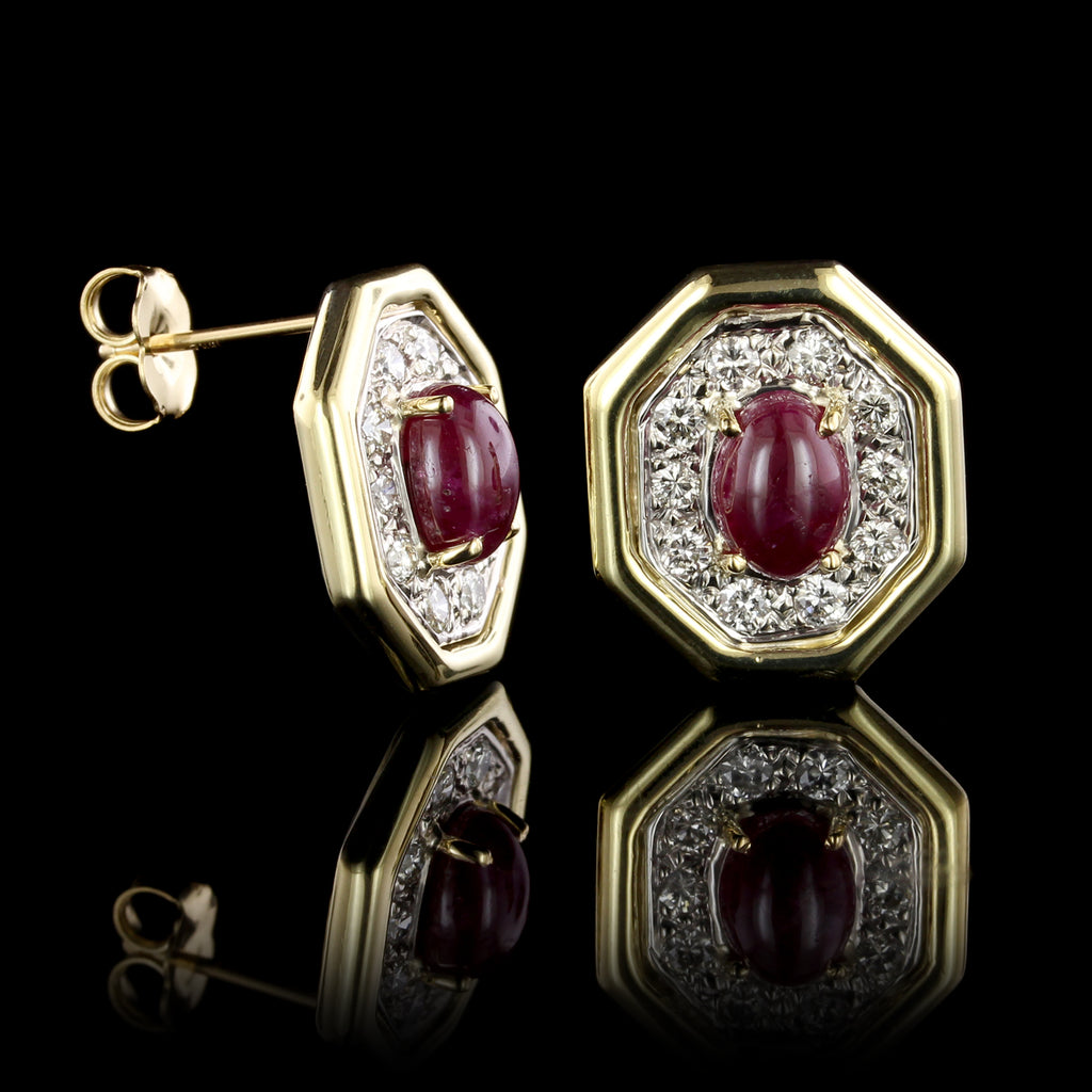 18K Yellow Gold Estate Ruby and Diamond Earrings