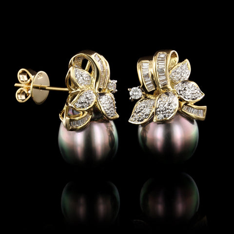 18K Yellow Gold Cultured Tahitian Pearl and Diamond Earrings