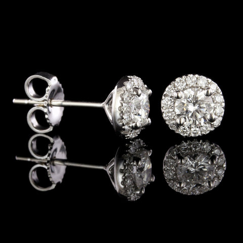 14K White Gold Diamond Halo Earrings