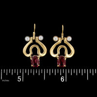 14K Yellow Gold Garnet and Cultured Pearl Earrings