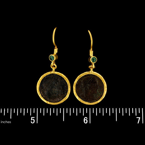 Gurhan 24K Yellow Gold Roman Coin and Emerald One of a Kind Earrings