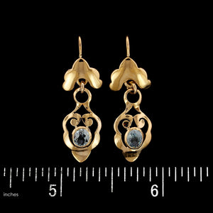 14K Yellow Gold Estate Aquamarine Earrings